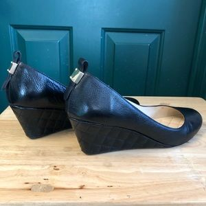 Cole Haan Black Quilted Wedge Pumps 10